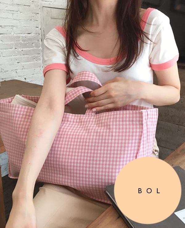 BOL square check bag / pink 재입고