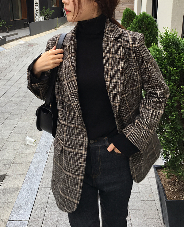chic check jk coat
