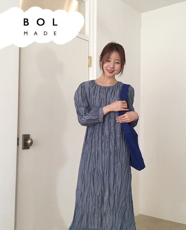 BOL wrinkle dress / blue